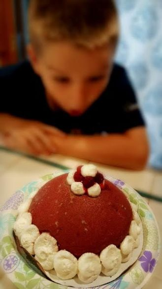 The neighbor boy was SO excited to eat the Ice Cream Bombe!