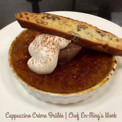 A blend of cinnamon and coffee infused into a creme brulee. Topped with chocolate cream, whipped cream, and a nutty biscotti.