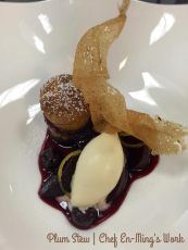 (Chef En-Ming's Work Pictured) Red wine plum stew served with a linzer tart and spiced ice cream.